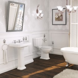 Kartell Astley 4 Piece Set Including Close Coupled Toilet with Seat and 600mm 2 Tap Hole Pedestal Basin