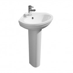 Kartell Lifestyle Ceramic 480mm 1 Tap Hole Corner Pedestal Basin