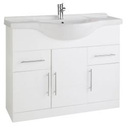 Kartell Impakt Cabinet With Basin Modern Vanity Unit Floor Standing White