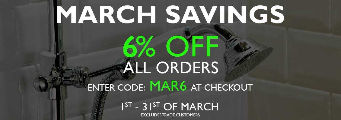 6% off all orders. Code: MAR6